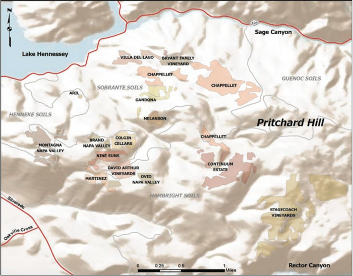 Pritchard Hill vineyards (map by the Somm Journal)